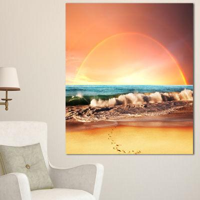 Designart Majestic Rainbow Over Seashore LandscapeWall Art On Canvas - 3 Panels
