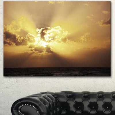 Designart Majestic Sea Sunset Through Clouds Landscape Wall Art On Canvas