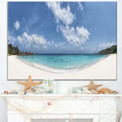 Designart Majestic Seychelles Beach Panorama LargeSeascape Art Canvas Print