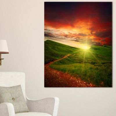 Designart Majestic Sunset And Path In Meadow Landscape Artwork Canvas