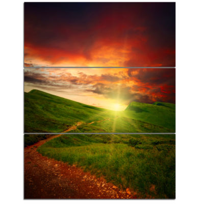 Designart Majestic Sunset And Path In Meadow Landscape Artwork Triptych Canvas