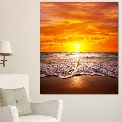 Designart Majestic Sunset With Foaming Waves LargeSeashore Canvas Print