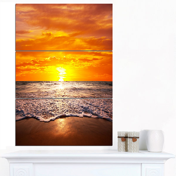 Design Art Majestic Sunset With Foaming Waves LargeSeashore Canvas Print - 3 Panels