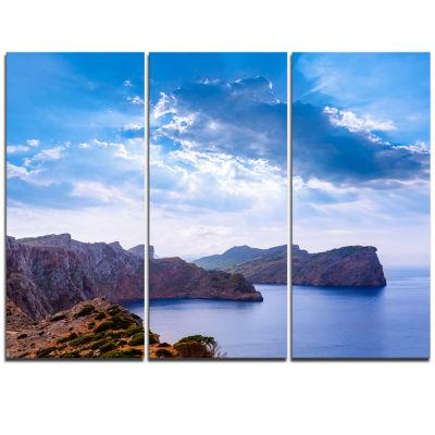 Designart Majorca Formentor Cape Rocks Extra LargeSeascape Art Triptych Canvas
