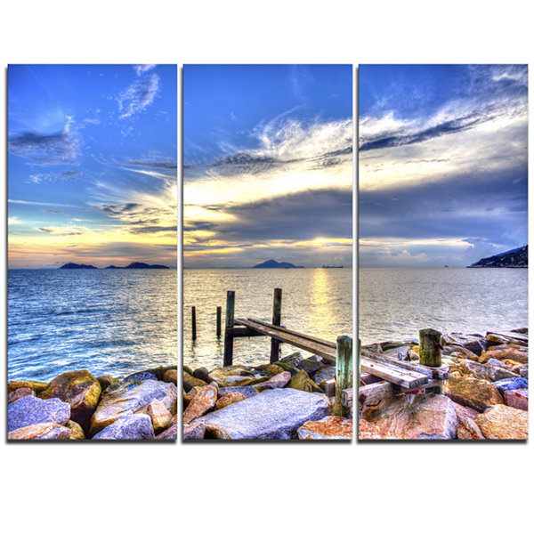 Designart Makeshift Wooden Pier Into The Sea LargeSeashore Triptych Canvas Print