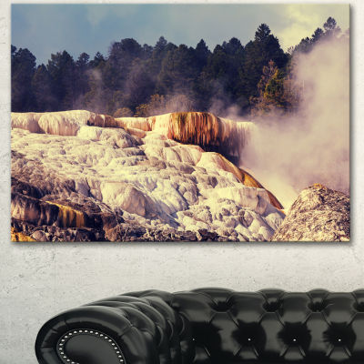 Design Art Mammoth Hot Springs View Landscape Canvas Art Print - 3 Panels