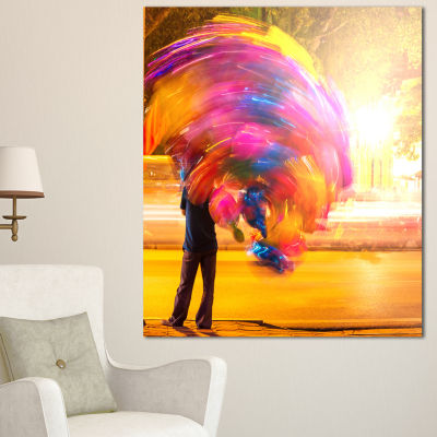 Designart Man With Balloons In Night Abstract Canvas Art Print - 3 Panels