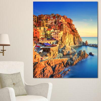 Designart Manarola Village View At Sunset Beach Photo Canvas Print