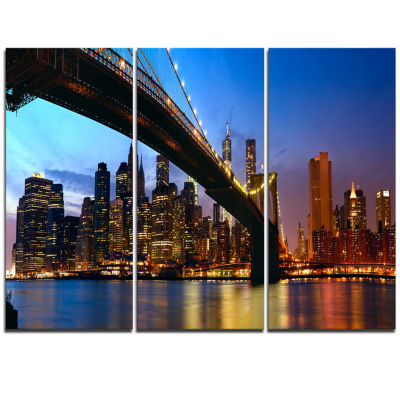 Designart Manhattan City With Bridge Under Blue Sky Cityscape Triptych Canvas Print