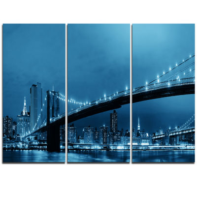 Designart Manhattan Downtown Urban View CityscapeTriptych Canvas Print