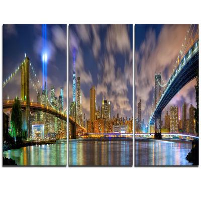 Designart Manhattan In Memory Of September 11 Cityscape Triptych Canvas Print