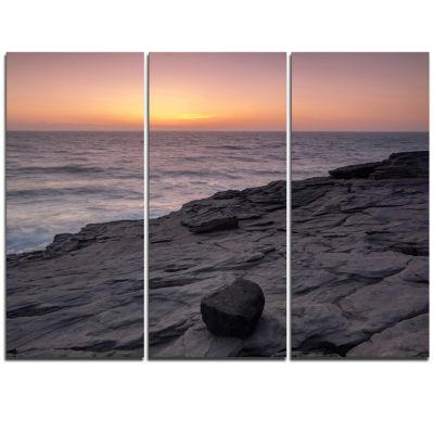 Designart Massive Rock On Beach Magoito Sintra Seashore Triptych Canvas Art Print
