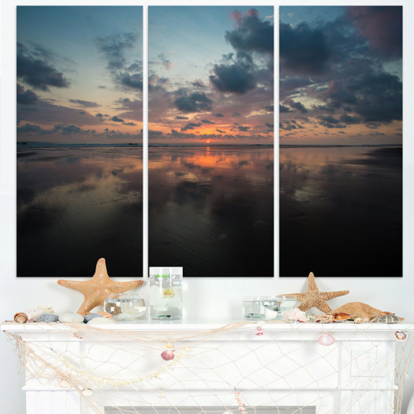 Designart Matapalo In Costa Rica Beach Sunset Extra Large Seascape Art Triptych Canvas