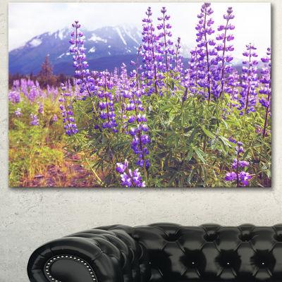 Designart Meadow In Alaska With Purple Flowers Floral Canvas Art Print - 3 Panels