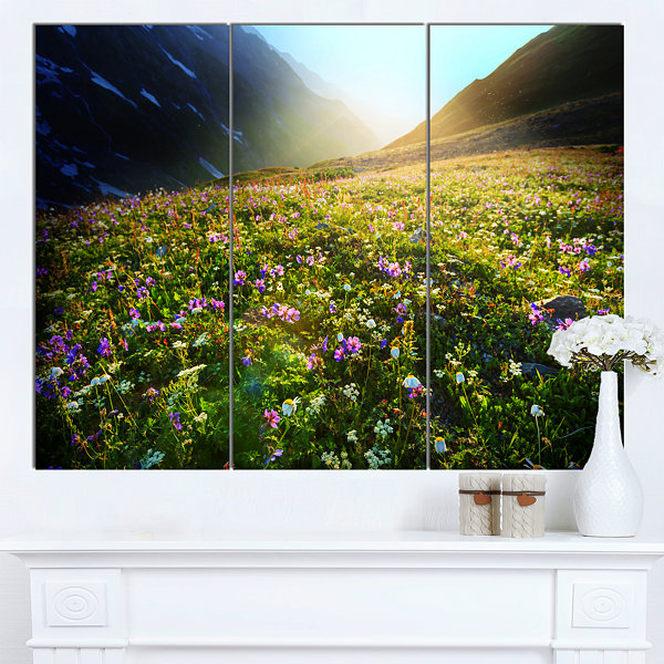 Designart Meadow With Colorful Flowers OversizedLandscape Canvas Art - 3 Panels