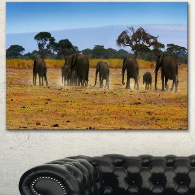 Designart Memory Of African Wild Elephants AfricanCanvas Art Print - 3 Panels