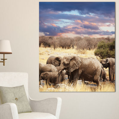 Designart Memory Of Elephants In Bush Abstract Canvas Art Print