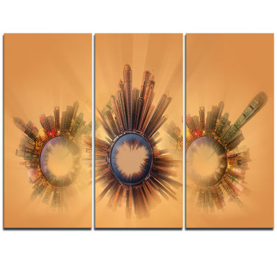 Designart Miniature Earth Planets With SkyscrapersAbstract Art On Triptych Canvas