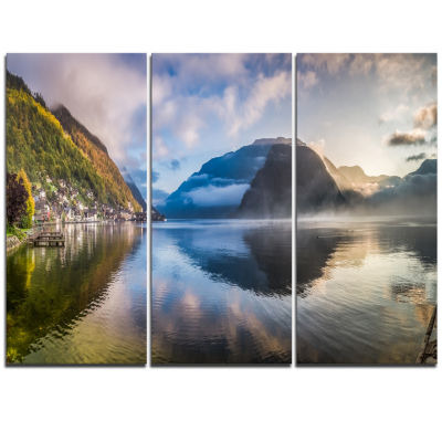Designart Misty Lake At Dawn Panorama Extra LargeSeashore Triptych Canvas Art