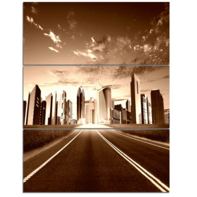 Designart Modern City And Road Cityscape TriptychCanvas Print