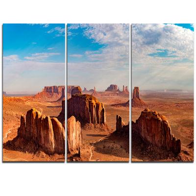 Designart Monument Valley Aerial Sky View Landscape Print Wall Artwork