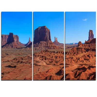 Designart Monument Valley National Park LandscapeArtwork Triptych Canvas