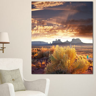 Designart Monument Valley Under Cloudy Sky Oversized African Landscape Canvas Art - 3 Panels