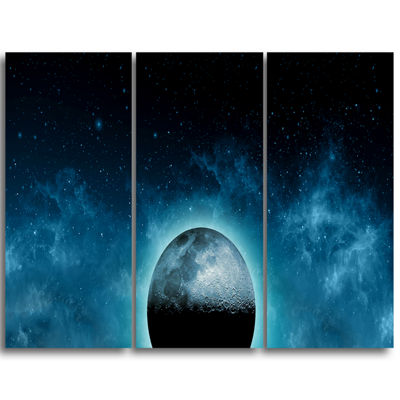 Designart Moon In The Front Of Galaxies Extra Large Wall Art Landscape