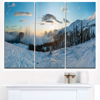 Designart Morning Winter Carpathian Mountains Landscape Triptych Canvas Art Print