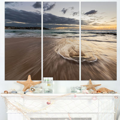 Designart Morning With Playful Surf And PleasantSky Seashore Triptych Canvas Art Print