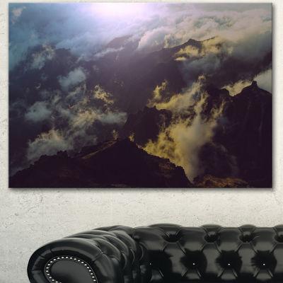 Designart Mountain Above The Clouds View LandscapeCanvas Art Print - 3 Panels