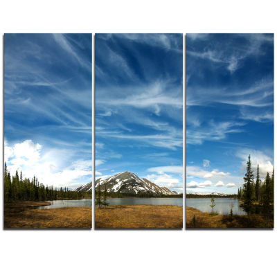 Designart Mountain And Lake Under Blue Sky Extra Large Seashore Triptych Canvas Art