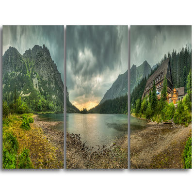 Designart Mountain Chalet At Sunset Panorama Landscape Triptych Canvas Art Print