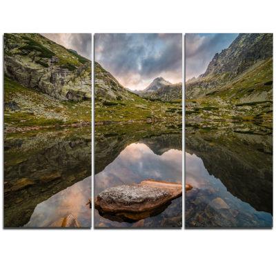 Designart Mountain Lake Over Skok Waterfall ExtraLarge Seashore Triptych Canvas Art