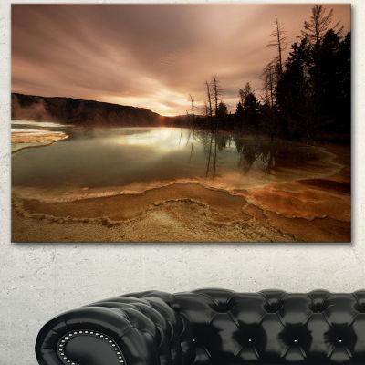 Designart Mountain Lake Under Cloudy Sky African Landscape Canvas Art Print