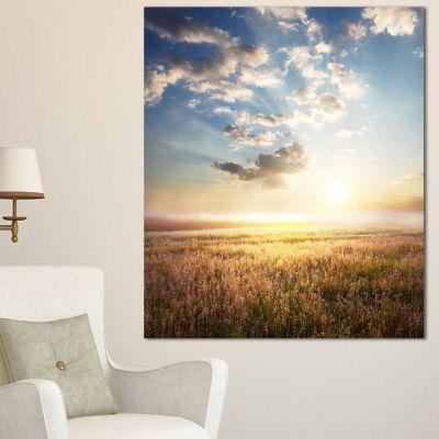 Designart Mountain Meadow Under Overcast Sky Landscape Canvas Art Print - 3 Panels