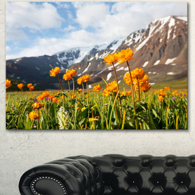Designart Mountain Meadow With Yellow Flowers Large Flower Canvas Art Print - 3 Panels