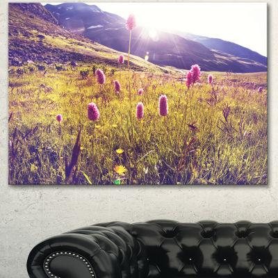 Designart Mountain Pasture With Pink Flowers LargeFlower Canvas Art Print - 3 Panels