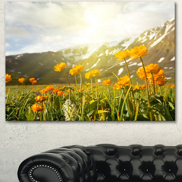 Design Art Mountain Pasture With Yellow Flowers Floral Canvas Art Print - 3 Panels