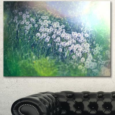 Designart Mountain Plain With Little Flowers LargeFlower Canvas Art Print - 3 Panels