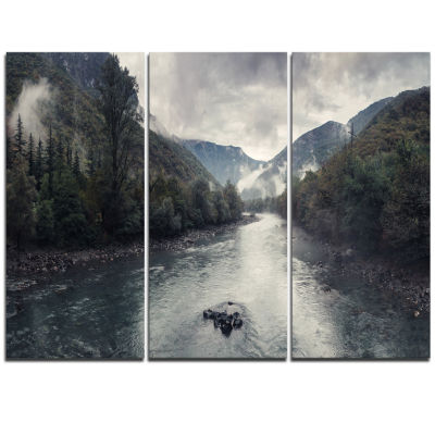 Designart Mountain River With Fog And Rain ModernSeascape Triptych Canvas Artwork