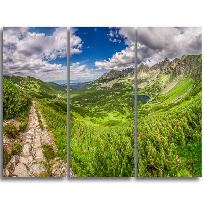 Designart Mountain Trail In Tatras Panorama Landscape Triptych Canvas Art Print