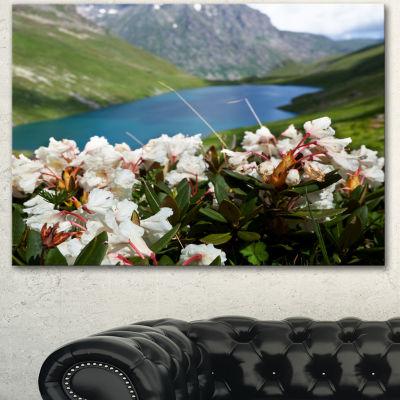 Designart Mountains Lake With White Flowers LargeFlower Canvas Art Print