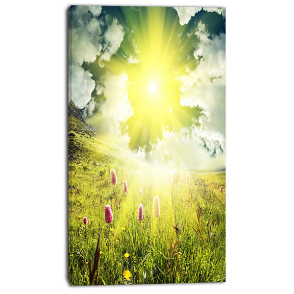 Designart Mountains Pasture Under Bright Sunset Oversized Landscape Canvas Art