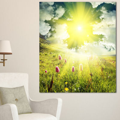 Designart Mountains Pasture Under Bright Sunset Oversized Landscape Canvas Art - 3 Panels