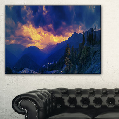Designart Mountains Peaks Of Caucasus Hills Landscape Artwork Canvas