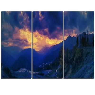 Designart Mountains Peaks Of Caucasus Hills Landscape Artwork Triptych Canvas