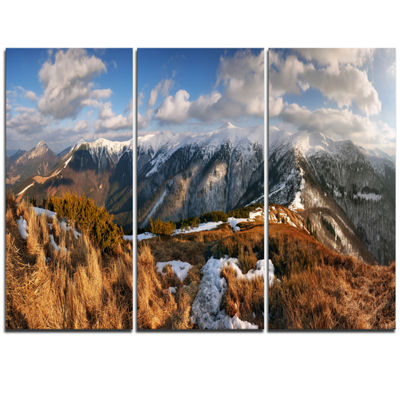 Designart Mountains With Sun At Vratna Valley Landscape Triptych Canvas Art Print
