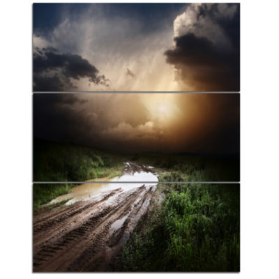 Designart Muddy Countryside Roads Under Dark Clouds Landscape Triptych Canvas Art Print