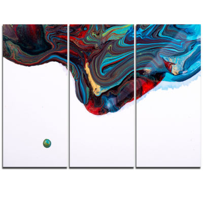 Designart Multi Color Abstract Acrylic Paint MixAbstract Art On Triptych Canvas